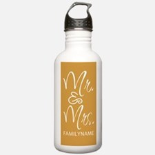 Gold and White Mr. And Water Bottle