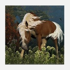 Curious Horse on a meadow Tile Coaster