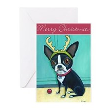 Unique Boston terrier christmas Greeting Cards (Pk of 20)