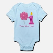 First Birthday Girl Balloons Body Suit