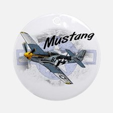 P51 Mustang Ornament (Round)