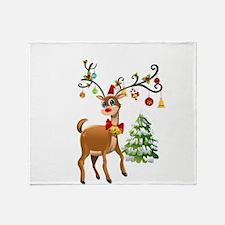 Cute Christmas Reindeer Throw Blanket