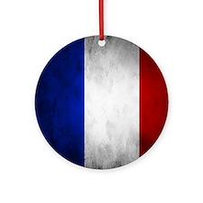 Grunge French Flag Ornament (Round)