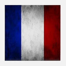 Grunge French Flag Tile Coaster