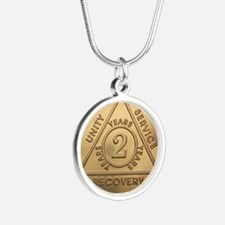 AA 2 year Silver Round Necklace