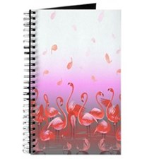 Bright Pink Flamingos in Pond Journal