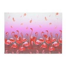 Bright Pink Flamingos in Pond 5'x7'Area Rug