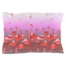 Bright Pink Flamingos in Pond Pillow Case