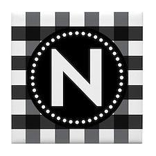 Letter N Monogram Gingham Tile Coaster
