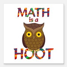"Math is a Hoot Square Car Magnet 3"" x 3"""