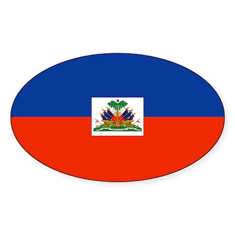 Haitian Flag Oval Sticker