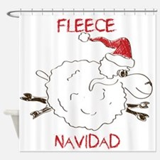 CUTE Fleece Navidad Sheep Shower Curtain
