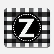 Letter Z Monogram Gingham Mousepad