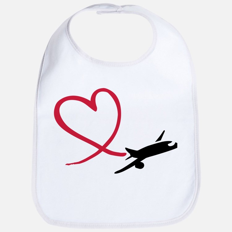 Airplane red heart Bib