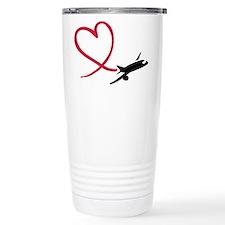 Airplane red heart Thermos Mug