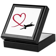Airplane red heart Keepsake Box