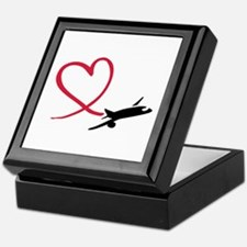 Airplane red heart Keepsake Box