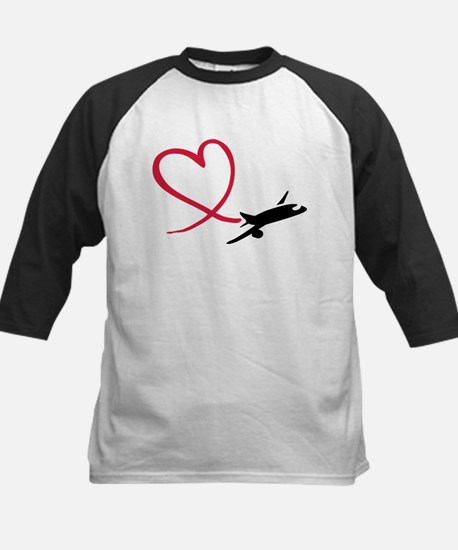 Airplane red heart Kids Baseball Jersey