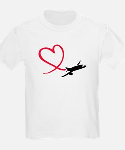 Airplane red heart T-Shirt