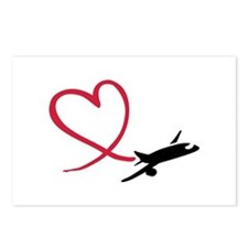 Airplane red heart Postcards (Package of 8)