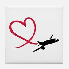 Airplane red heart Tile Coaster