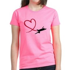 Airplane red heart Tee