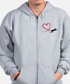 Airplane red heart Zip Hoodie