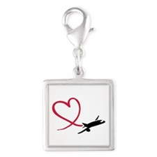 Airplane red heart Silver Square Charm