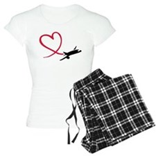 Airplane red heart Pajamas