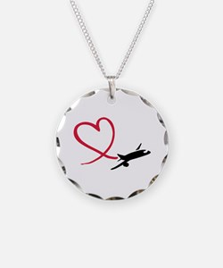Airplane red heart Necklace