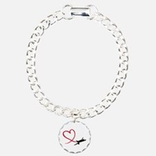 Airplane red heart Bracelet