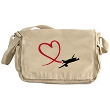 Airplane red heart Messenger Bag