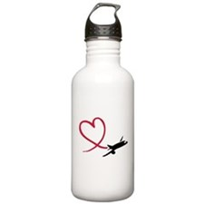 Airplane red heart Sports Water Bottle