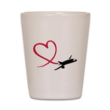 Airplane red heart Shot Glass