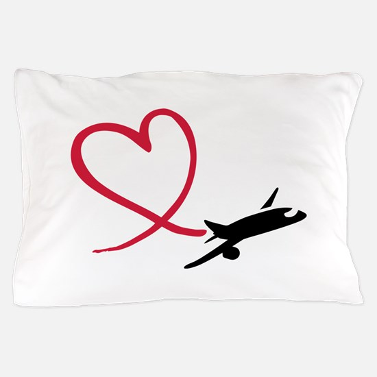 Airplane red heart Pillow Case