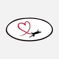Airplane red heart Patches