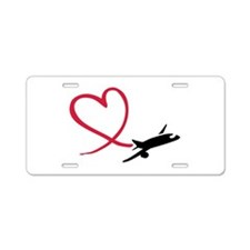 Airplane red heart Aluminum License Plate