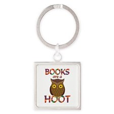 Books are a Hoot Square Keychain