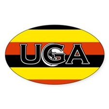 Ugandan Flag with text Oval Decal
