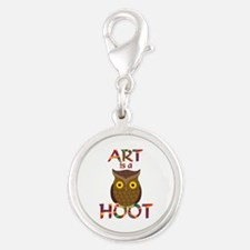Art is a Hoot Silver Round Charm