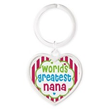Cute Worlds greatest nana Heart Keychain