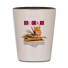 books and kitten Shot Glass