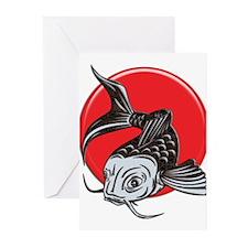Japanese Koi Logo copy Greeting Cards