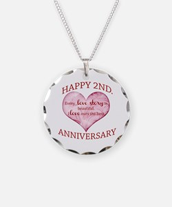 2nd. Anniversary Necklace Circle Charm