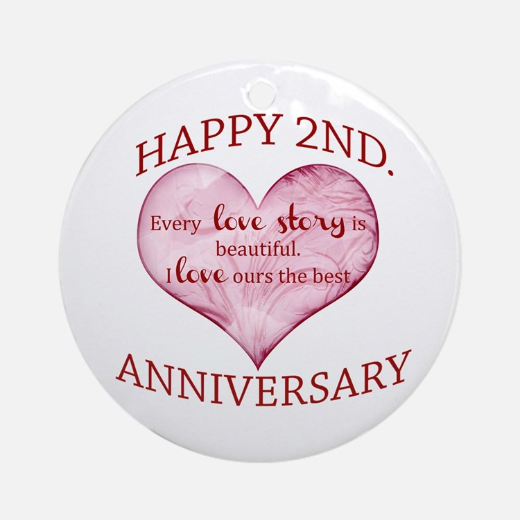 Second wedding anniversary ornaments s of