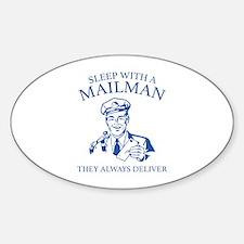 Sleep With A Mailman Sticker (Oval)