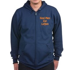 Real Men Eat Latkes Chanukah Zip Hoodie