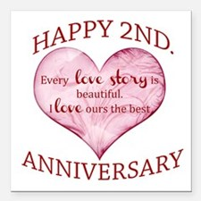 """2nd. Anniversary Square Car Magnet 3"""" x 3"""""""