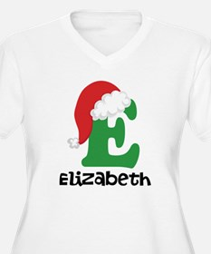 Christmas Santa Hat E Monogram Plus Size T-Shirt
