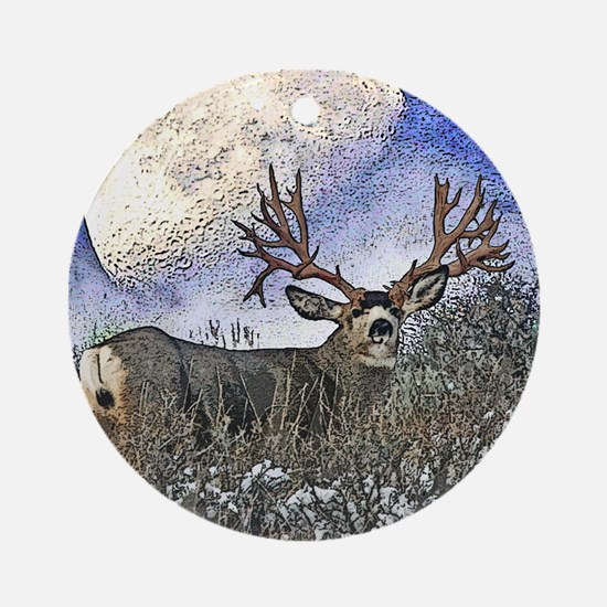 Trophy mule deer buck Ornament (Round)